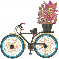 bicycle creative figure embroidery design