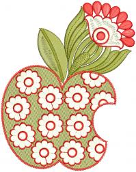 apple creative figure embroidery design