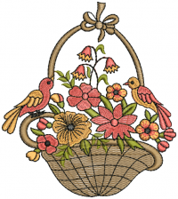 creative basket flower sparrows  embroidery design