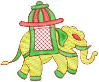creative elephant figure embroidery design