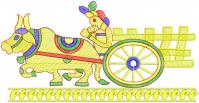 Creative Bullock-cart figure embroidery design