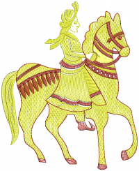 horse rider embroidery design