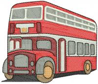 creative bus figure embroidery design
