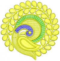 unique peacock round shape embroidery design