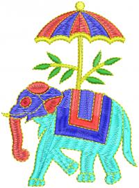 creative elephant umbrella  embroidery design