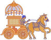 Horse-drawn carriage ride embroidery design