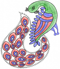 creative peacock  figure embroidery  design