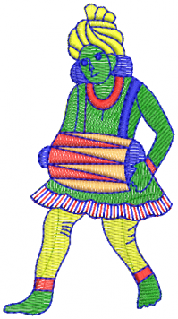 creative Drummer figure embroidery  design