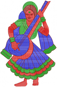 woman playing sitar embroidery design