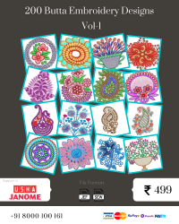 Vol-1, 200 Embroidery Butta Designs for Usha Janome Machine, Instant Download