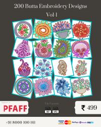 Vol-1, 200 Embroidery Butta Designs for Pfaff Machine, Instant Download