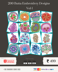 Vol-1, 200 Embroidery Butta Designs for Husqvarna Viking Machine, Instant Download