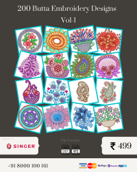 Vol-1, 200 Embroidery Butta Designs for Singer Machine, Instant Download