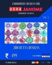 Vol-2, 200 Embroidery Butta Designs for Usha Janome Machine, Instant Download
