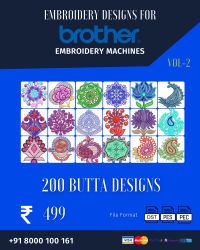 Vol-2, 200 Embroidery Butta Designs for Brother Machine, Instant Download