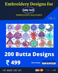 Vol-2, 200 Embroidery Butta Designs for Babylock Machine, Instant Download