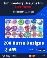 Vol-2, 200 Embroidery Butta Designs for Bernina Machine, Instant Download
