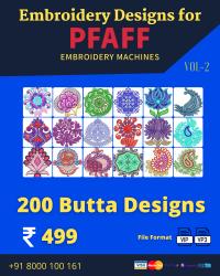 Vol-2, 200 Embroidery Butta Designs for Pfaff Machine, Instant Download