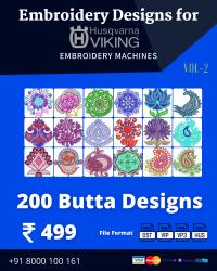 Vol-2, 200 Embroidery Butta Designs for Husqvarna Viking Machine, Instant Download