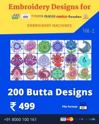 Vol-2, 200 Embroidery Butta Designs for Multi Needle Machines, Instant Download