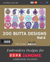 Vol-3, 200 Embroidery Butta Designs for Usha Janome Machine, Instant Download