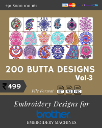 Vol-3, 200 Embroidery Butta Designs for Brother Machine, Instant Download