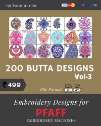 Vol-3, 200 Embroidery Butta Designs for Pfaff Machine, Instant Download