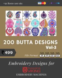 Vol-3, 200 Embroidery Butta Designs for Husqvarna Viking Machine, Instant Download