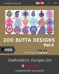 Vol-3, 200 Embroidery Butta Designs for Singer Machine, Instant Download