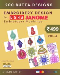 Vol-4, 200 Embroidery Butta Designs for Usha Janome Machine, Instant Download