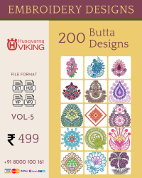 Vol-5, 200 Embroidery Butta Designs for Husqvarna Viking Machine, Instant Download
