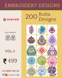 Vol-5, 200 Embroidery Butta Designs for Singer Machine, Instant Download
