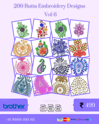 Vol-6, 200 Embroidery Butta Designs for Brother Machine, Instant Download