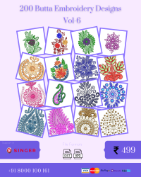 Vol-6, 200 Embroidery Butta Designs for Singer Machine, Instant Download