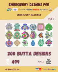 Vol-7, 200 Embroidery Butta Designs for Multi Needle Machines, Instant Download