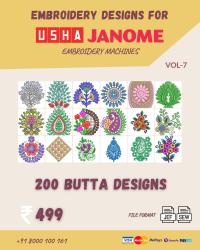 Vol-7, 200 Embroidery Butta Designs for Usha Janome Machine, Instant Download