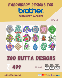 Vol-7, 200 Embroidery Butta Designs for Brother Machine, Instant Download