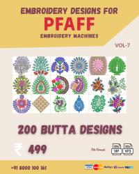 Vol-7, 200 Embroidery Butta Designs for Pfaff Machine, Instant Download