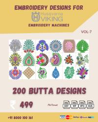 Vol-7, 200 Embroidery Butta Designs for Husqvarna Viking Machine, Instant Download