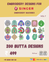 Vol-7, 200 Embroidery Butta Designs for Singer Machine, Instant Download