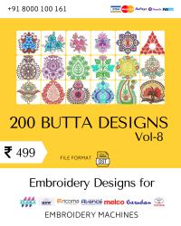 Vol-8, 200 Embroidery Butta Designs for Multi Needle Machines, Instant Download