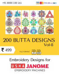 Vol-8, 200 Embroidery Butta Designs for Usha Janome Machine, Instant Download
