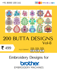 Vol-8, 200 Embroidery Butta Designs for Brother Machine, Instant Download