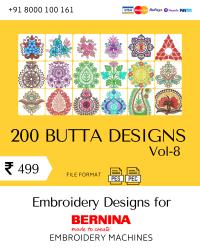 Vol-8, 200 Embroidery Butta Designs for Bernina Machine, Instant Download