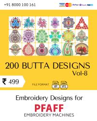 Vol-8, 200 Embroidery Butta Designs for Pfaff Machine, Instant Download