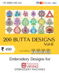 Vol-8, 200 Embroidery Butta Designs for Husqvarna Viking Machine, Instant Download