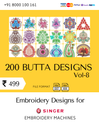 Vol-8, 200 Embroidery Butta Designs for Singer Machine, Instant Download