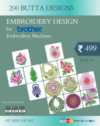 Vol-9, 200 Embroidery Butta Designs for Brother Machine, Instant Download