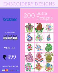 Vol-10, 200 Embroidery Butta Designs for Brother Machine, Instant Download