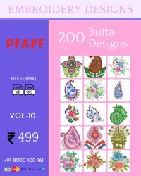 Vol-10, 200 Embroidery Butta Designs for Pfaff Machine, Instant Download